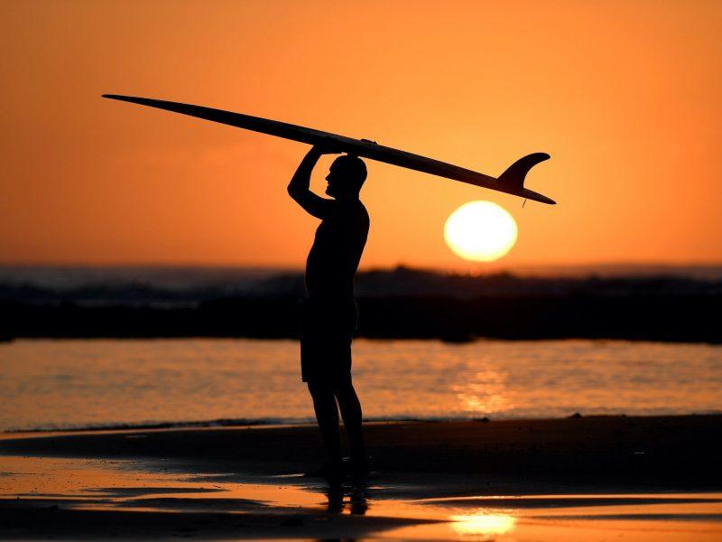 Bells Beach sunrise surfer