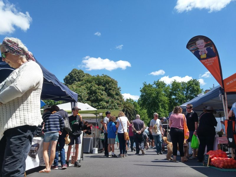 Sidney Myer Place market with shoppers