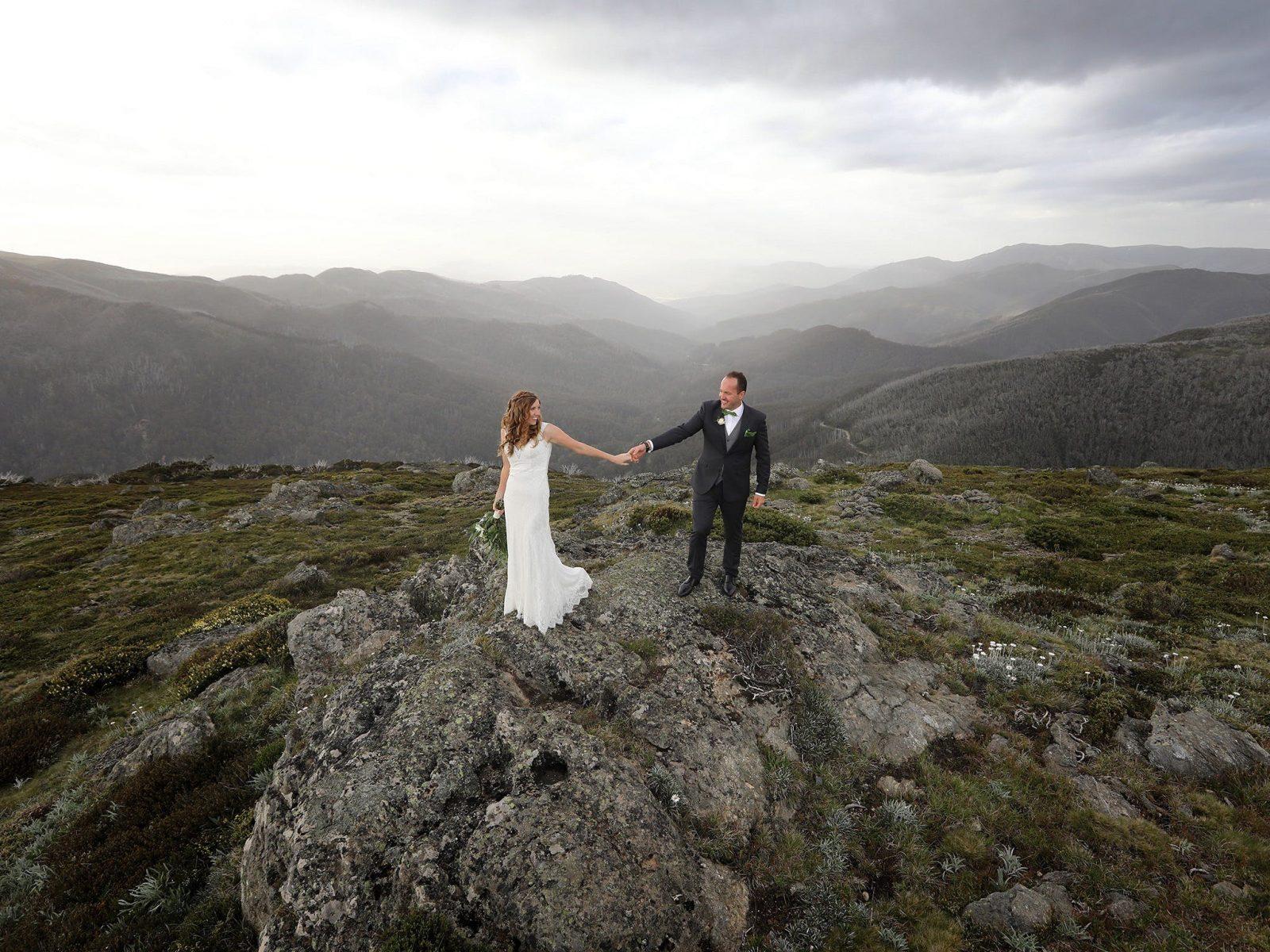 Wedding Photographer Falls Creek Mount Beauty Photography QT Resort Mountain snow fields elopement