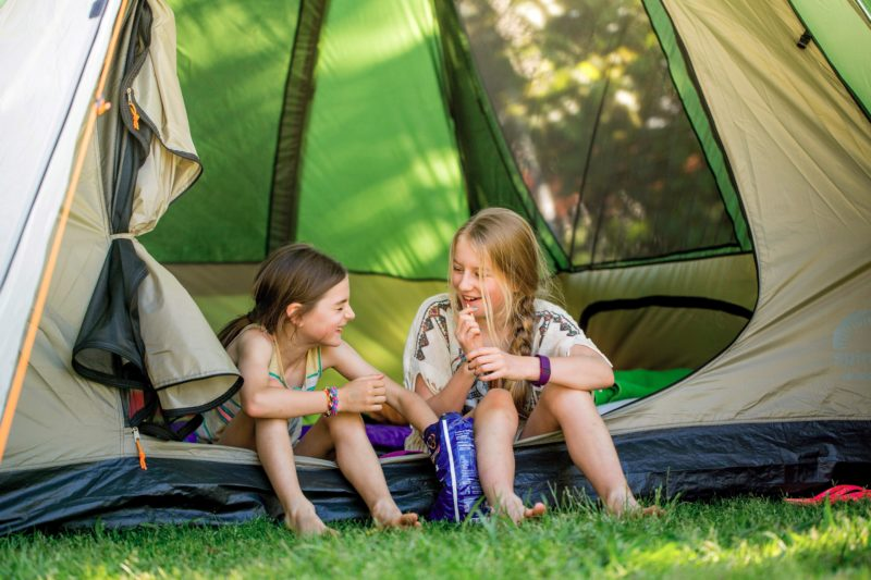 Girls camping in tent at BIG4 Castlemaine Gardens Holiday Park