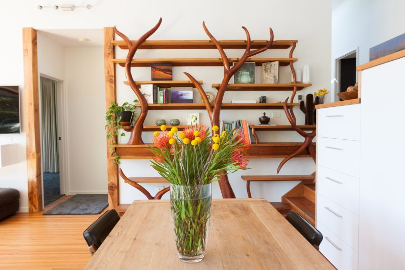 dining room with a view and stunning bookcase
