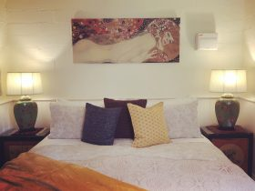 King bed in Meadow view Apartment with Klimt portrait.