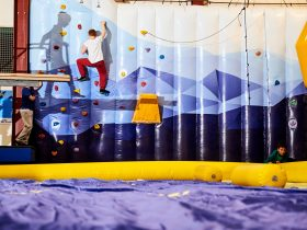 Inflatable climbing wall at Buller Air Zone