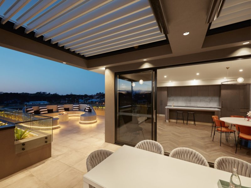 Luxury Exclusive Penthouse Outdoor dining area with BBQ and TV