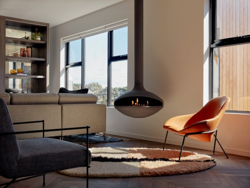 Luxury Exclusive Penthouse Living area with Ethanol Fireplace