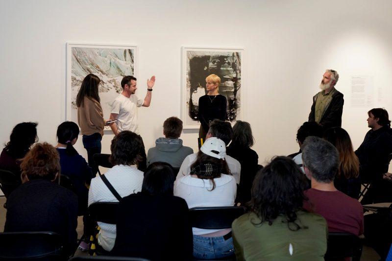 Rohan Hutchinson giving an artist talk