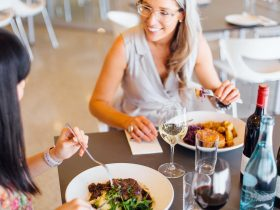 Dine the day away with friends in the Chrismont Restaurant and Larder
