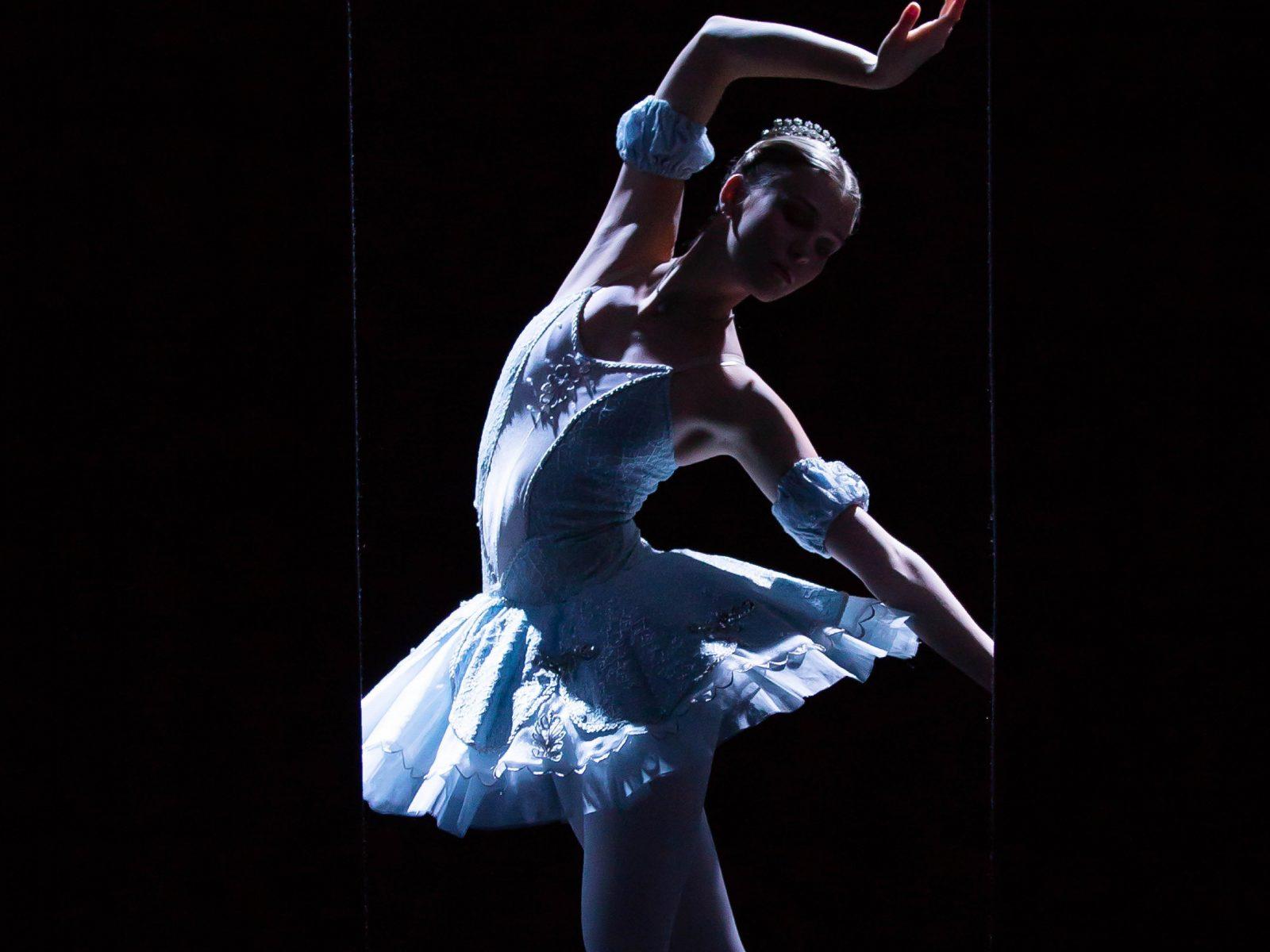 Elegant ballet dancer in blue tutu