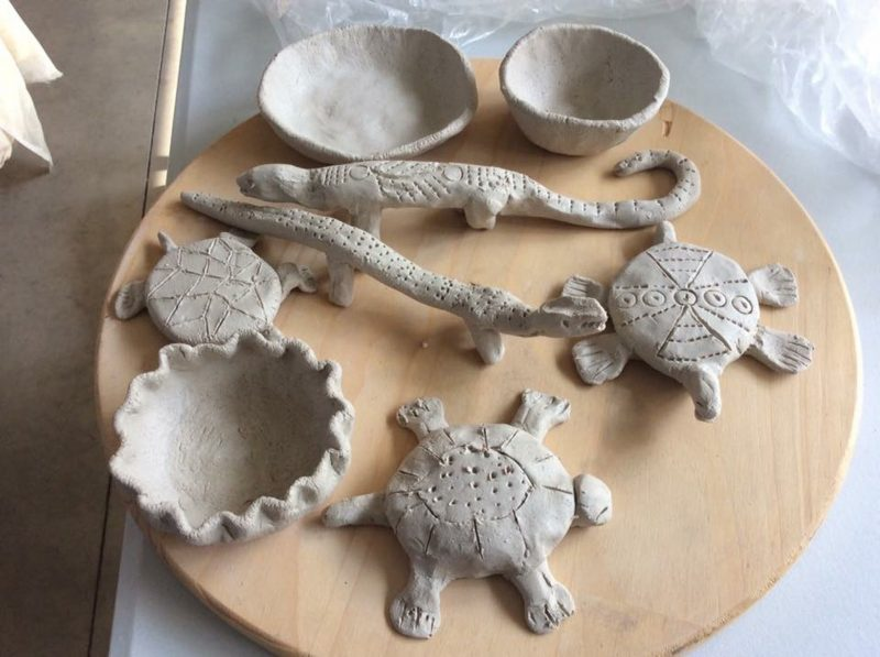 Various clay pieces made during Helen's workshops.