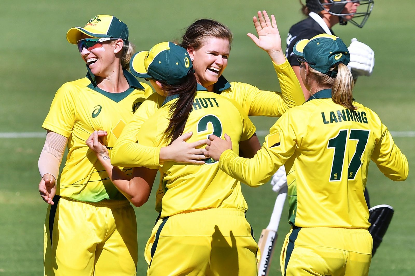The Aussies celebrating a wicket