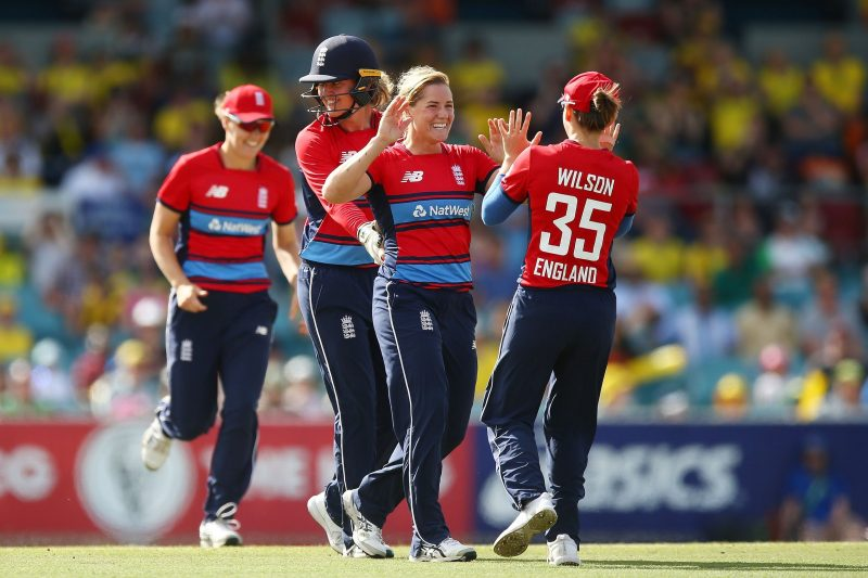 England celebrating a wicket