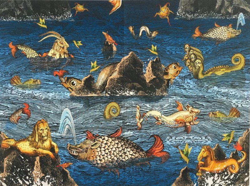 Milan Miljevic's woodblock print Sea of monsters