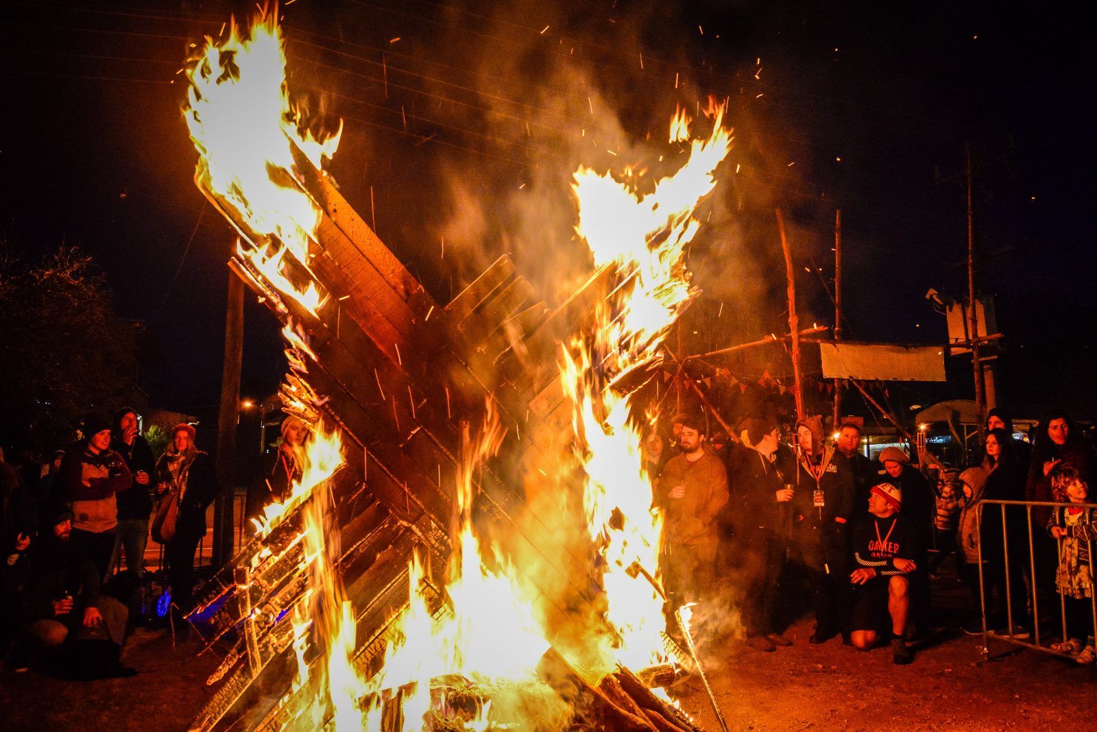 People gathered around a bonfire