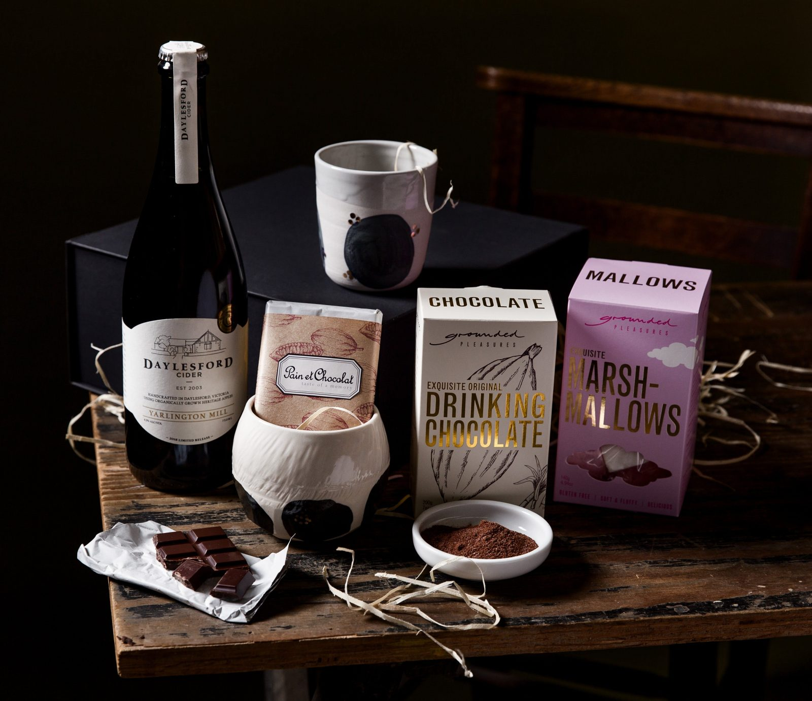 Spiced Cider, Hot chocolate, marshmallows, ceramic beaker, dark chocolate