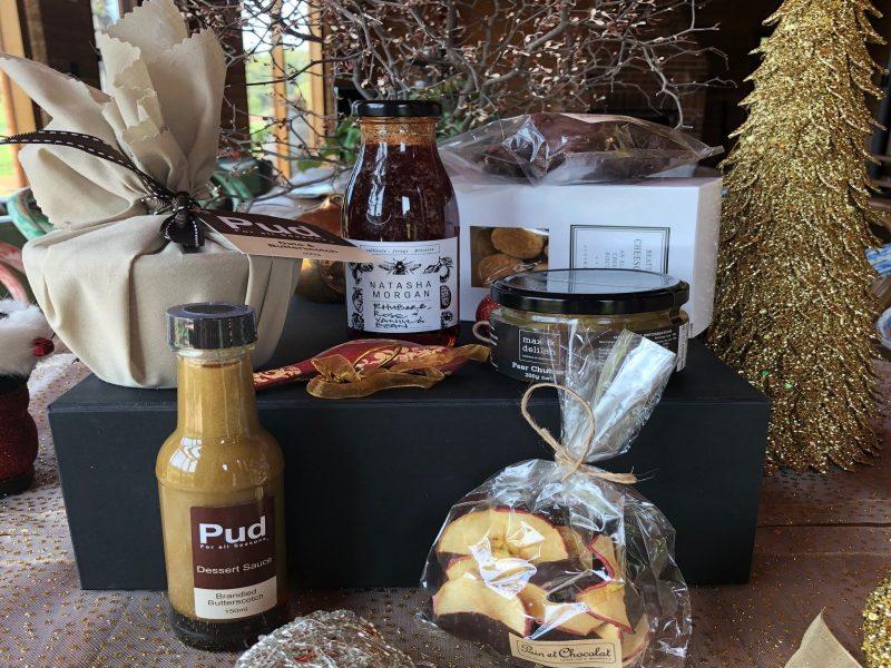 Pudding, organic cordial, shorbreads, chocolates, brandy sauce, apple pear chutney