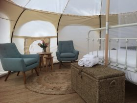 Glamp in style - Three uniquely decorated Glamping Belle Tents. Romantic 'Harmony' shown.