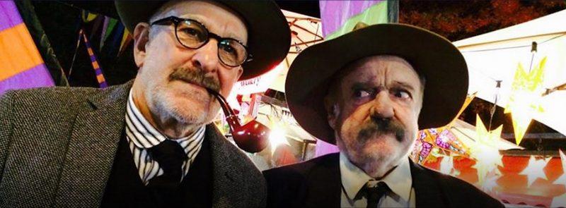 Australian actors Warren Fahey (Banjo Paterson) and Max Cullen (Henry Lawson) Dead Men Talking