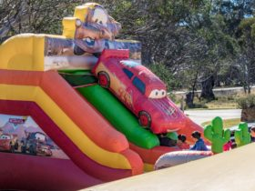 Kids activities and jumping castle at the Dinner Plain Easter Festival