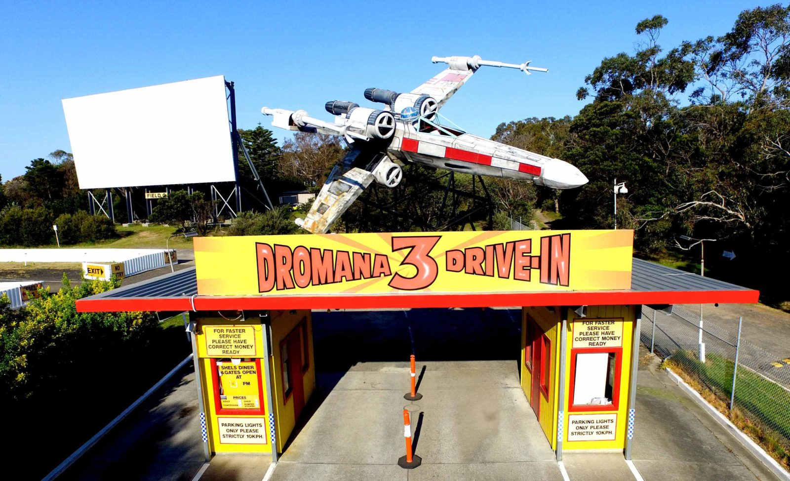 Dromana Drive In entrance and Star Wars X-Wing Fighter