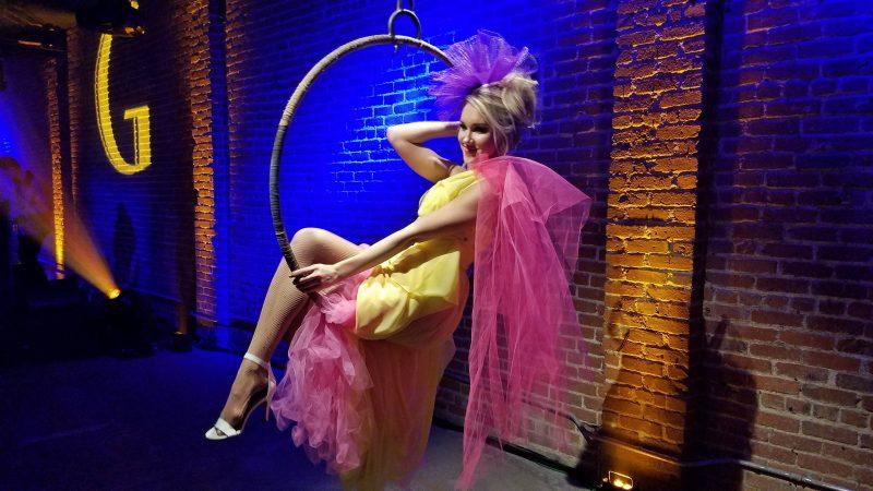 Show girl on hoop swing