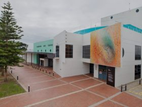 Frankston Arts Centre - the Bonfire by Kerrie Warren adorns the centre