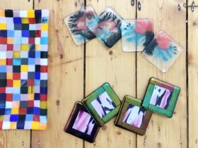 Artisan Fused Glass Pieces Crafted by Previous Students in Weekend Workshops at Leadlight By Ettore