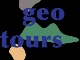 Geotours logo, symbolic of an erupting volcano and the limestone of the 12 Apostles