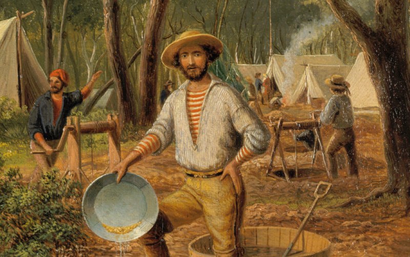 Painting 'I Have Got It' by Eugen von Guérard depicts a lucky digger during the Victorian Gold Rush