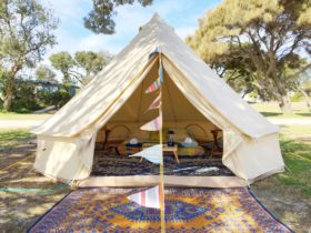 Bell tent pitched and furnished by Happy Glamper