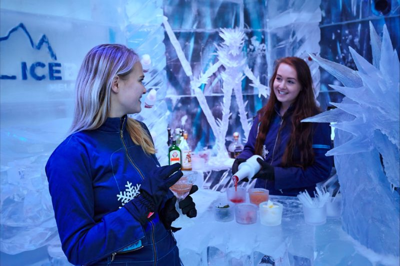 Two Ladies sharing a drink at IceBar Melbourne
