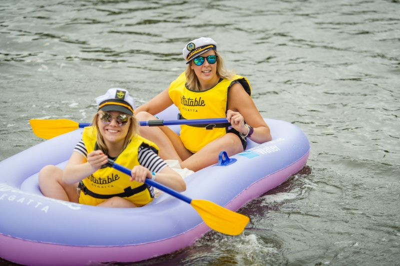 2 women in inflatable boat