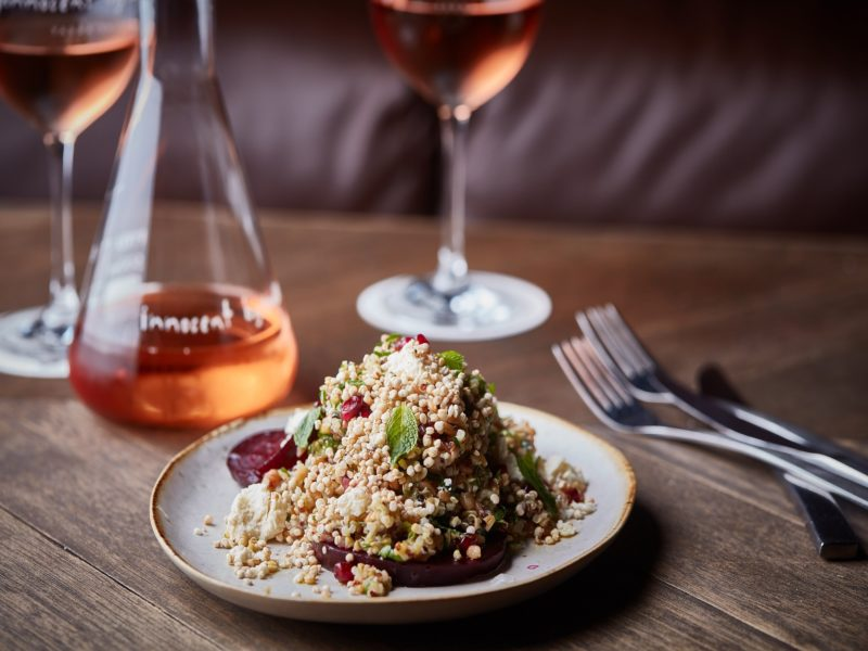 Innocent Bystander Rosé with grain and beetroot salad