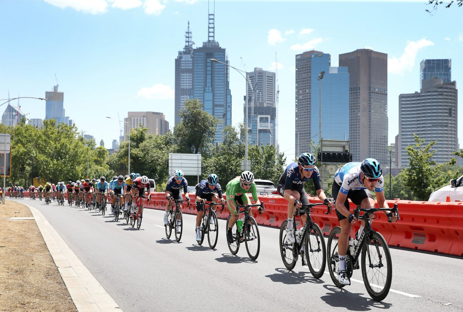 Riders make their way around the Melbourne circuit
