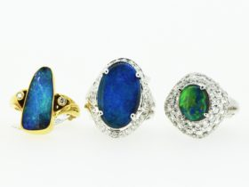 Beautiful Australian Opals set in gold with diamonds