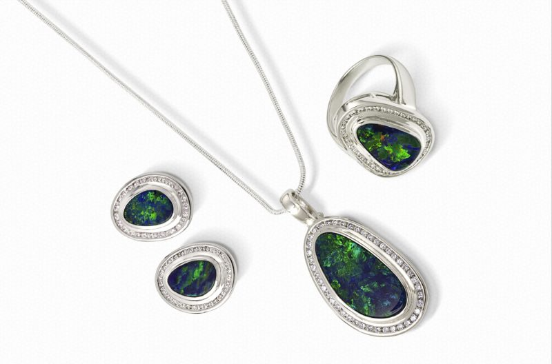 doublet opal ring, pendant, earring set