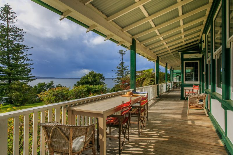 Wide verandahs overlooking lake