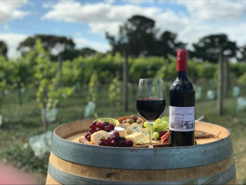 Kisaan Estate Winery - Barrel with Wine and Cheese