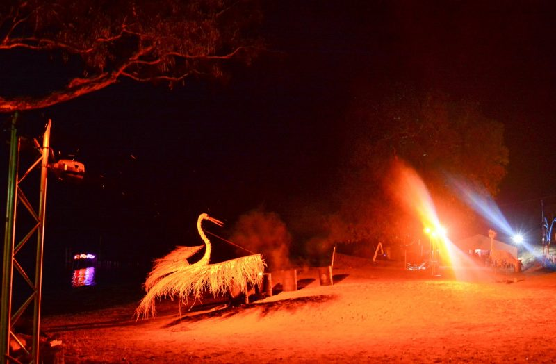 The Brolga and Emu totems joined in for the celebrations after festival goers added a final touch