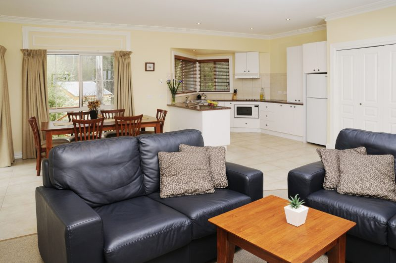Spacious living areas in all cottages