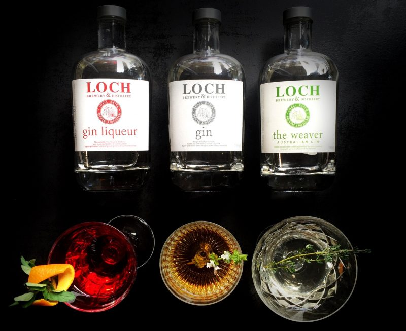 Selection of Loch Gin in the bottle and also in a glass