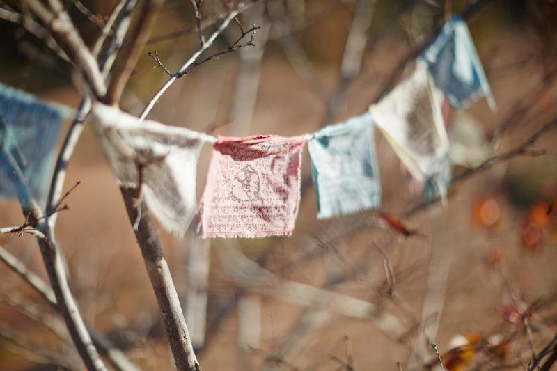 Prayer flags at The Great Stupa