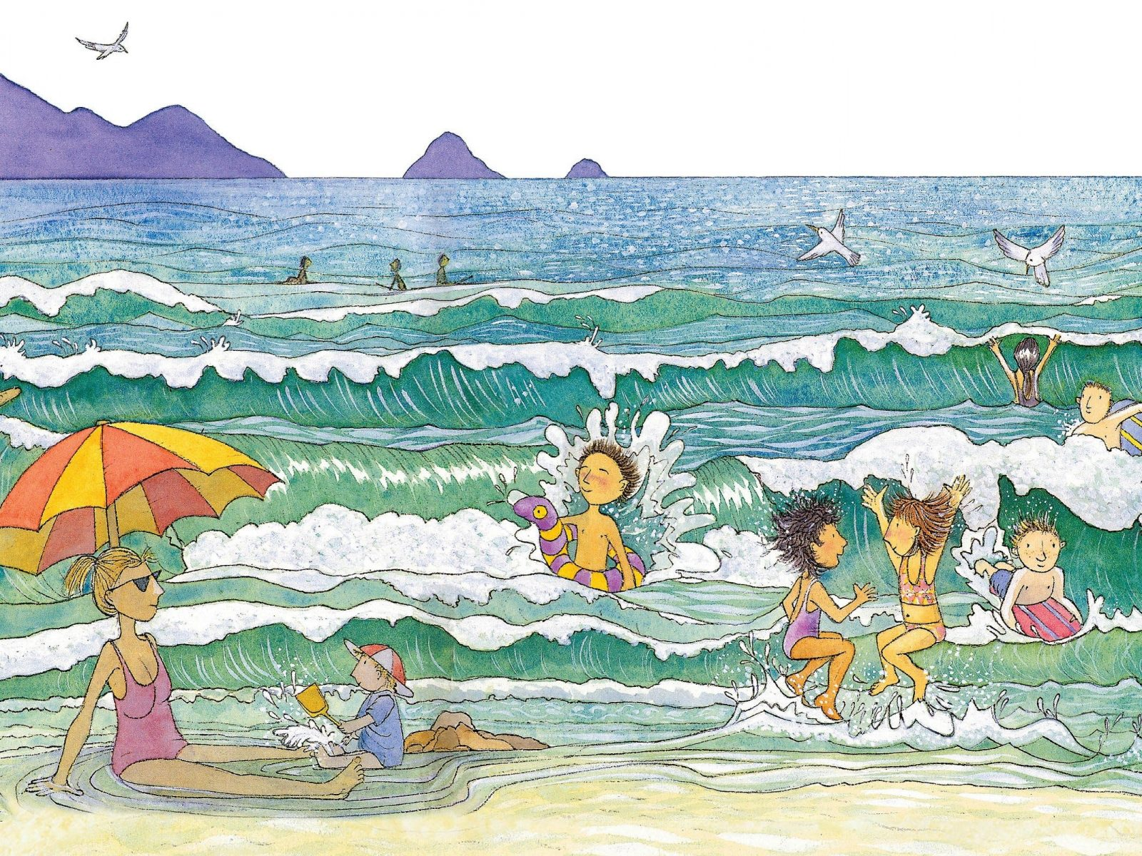 Children playing in the water at the beach