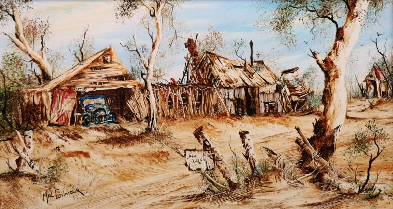 Watercolor painting depicting old tipper truck in an old farm shed.