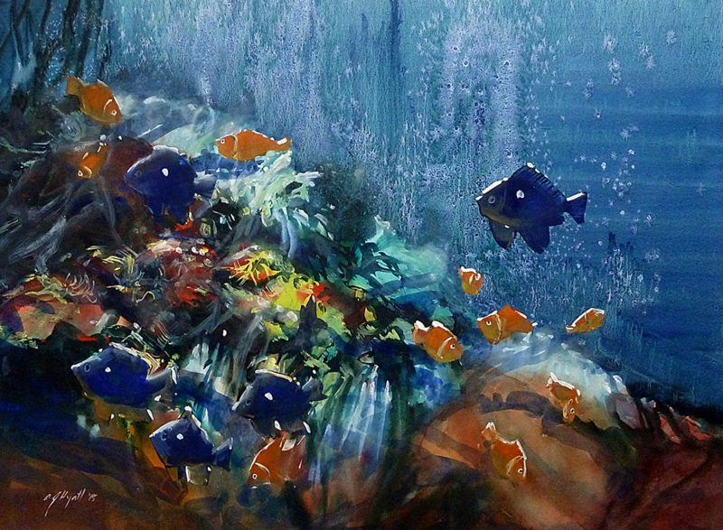 Watercolour of fish in large pond