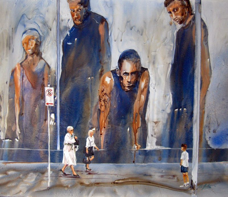 Watercolour of imposing mural overlooking walking pedestrians