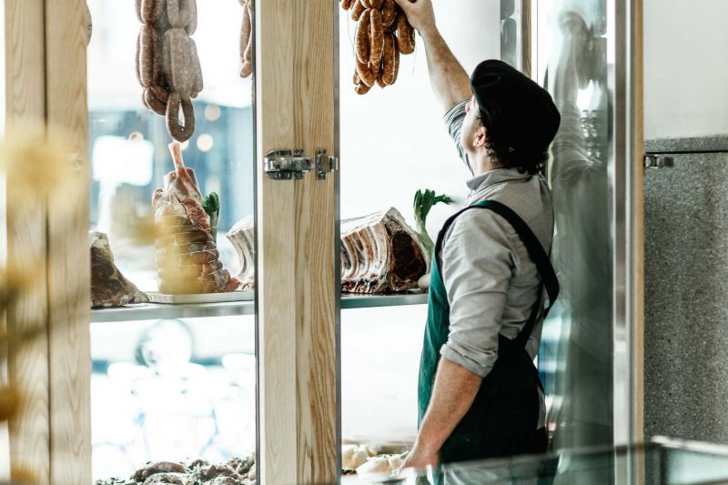 Premium meats are dry-aged in house & stored in the temperature controlled shop front window
