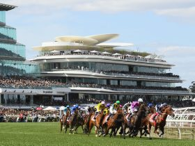 Horses racing at Flemington Raceourse during the 2018 Melbourne Cup Carnival