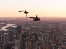 Melbourne Helicopters' Robinson 44 taking a cruise around Melbourne City and Port Philip Bay.