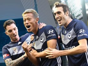 Keisuke Honda and Melbourne Victory team mates celebrating a goal