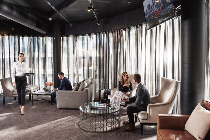 Luxurious departure lounge where passengers will enjoy a glass of champagne and meet their pilot
